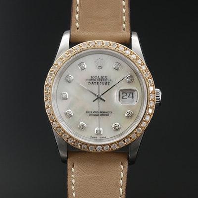 "1989 Rolex ""Datejust"" 14K, 1.13 CTW Diamond and  Stainless Steel Wristwatch"