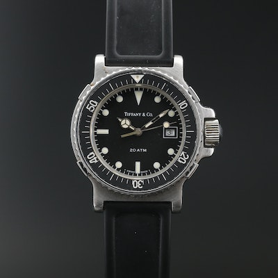 "Vintage Tiffany & Co. ""Diver"" Stainless Steel Quartz Wristwatch"