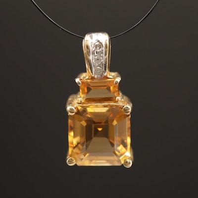 10K Citrine Pendant with Diamond Bail
