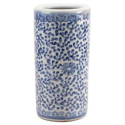 Chinese Blue and White Porcelain Umbrella Stand, Late 19th to early 20th Century