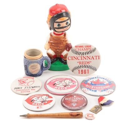 Cincinnati Reds Souvenir Items, Pinbacks, Bobblehead Doll, More, Mid-20th C.