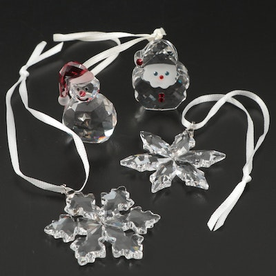 Swarovski Crystal Snowman and Snowflake Christmas Ornaments