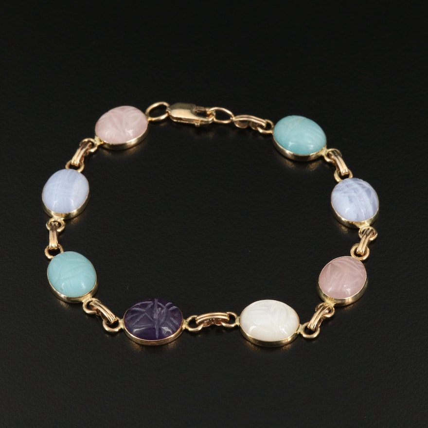 14K Gemstone Scarab Bracelet Including Rose Quartz and Mother of Pearl