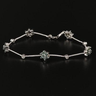 14K White Gold 1.38 CTW Diamond Floral Station Bracelet
