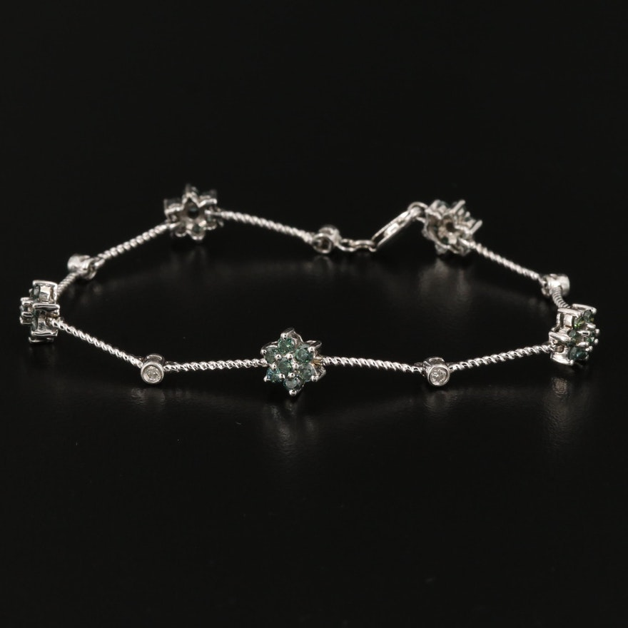 14K White Gold 1.38 CTW Diamond Floral Station Bracelet