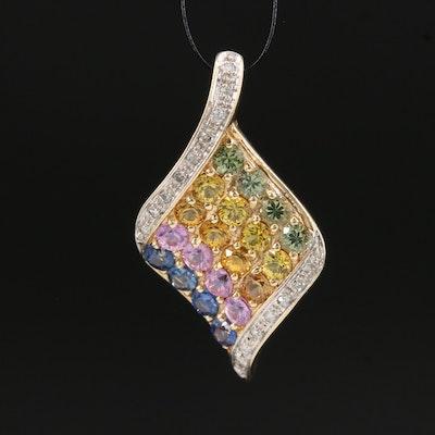 14K Multi-Colored Sapphire and Diamond Pendant