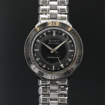 "1967 Bulova ""Accutron Astronaut"" GMT Stainless Steel Tuning Fork Wristwatch"