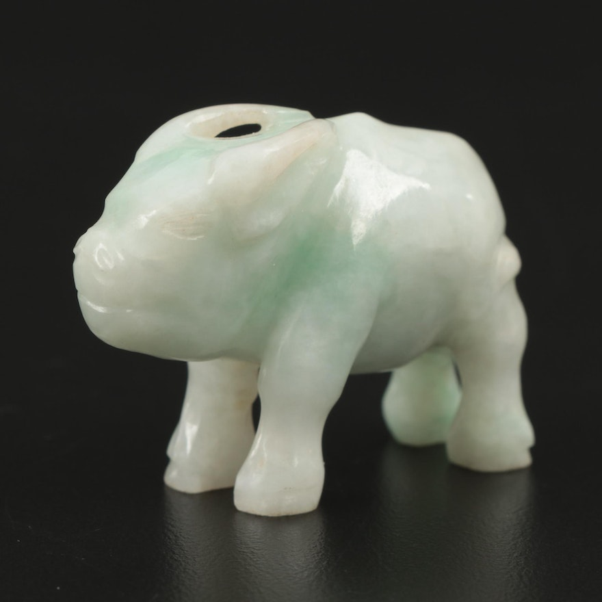 Chinese Carved Jadeite Water Buffalo