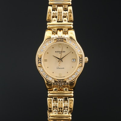 "Wittnauer ""Laureate"" Diamond and Gold Tone Quartz Wristwatch"