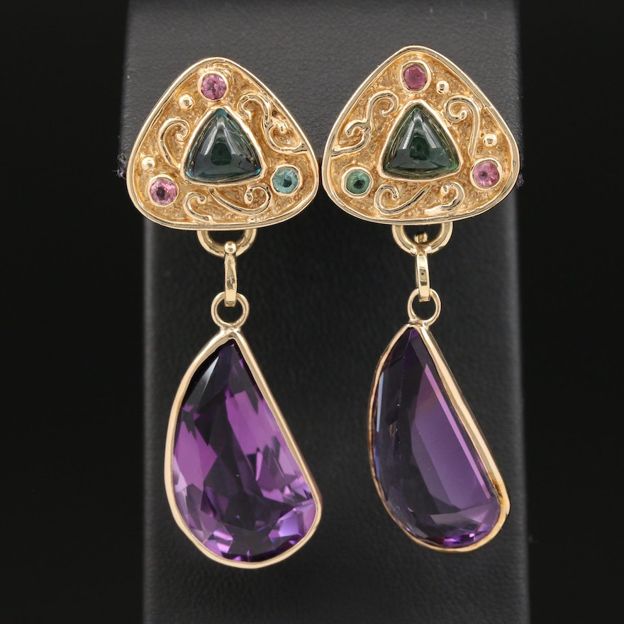 14K Tourmaline and Amethyst Earrings with Removable Drops