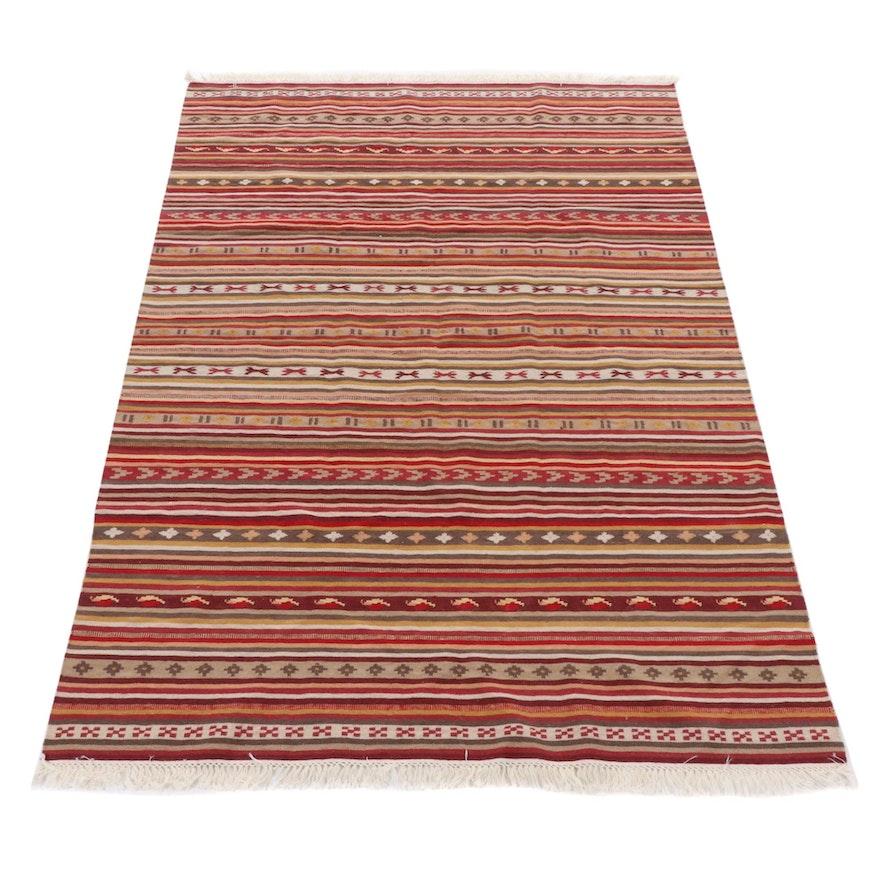 5'6 x 8'1 Handwoven Persian Shiraz Kilim Rug, 2000s