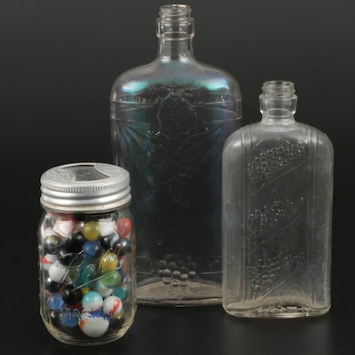 Pressed Glass Wine Bottles and Jar of Glass Marbles