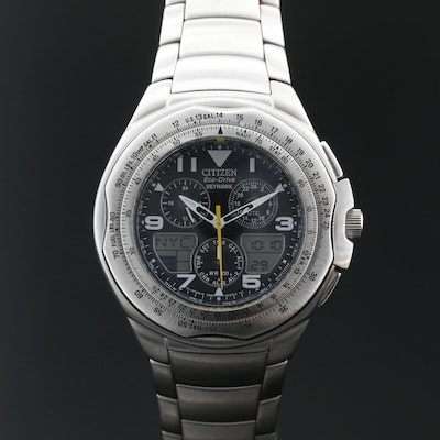 "Citizen ""Eco-Drive Skyhawk"" Stainless Steel Wristwatch"