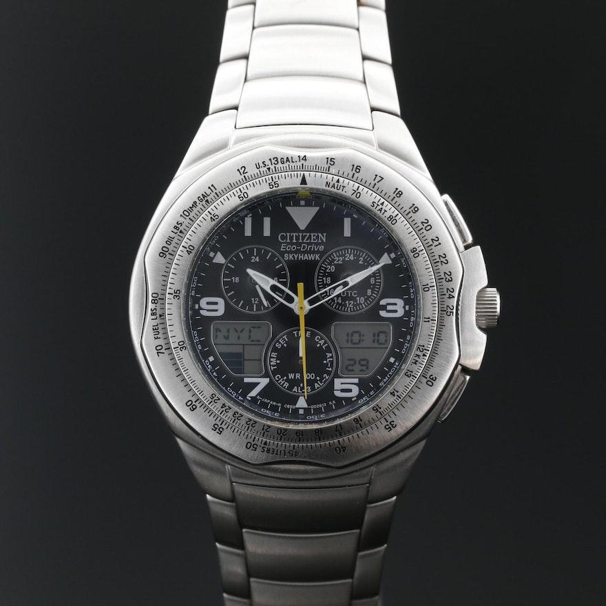 "Citizen ""Eco-Drive Skyhawk"" Stainless Steel Wristwatch"
