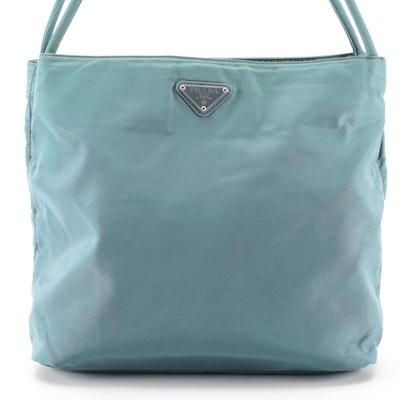 Prada Tessuto Nylon Shoulder Bag in Light Teal Blue