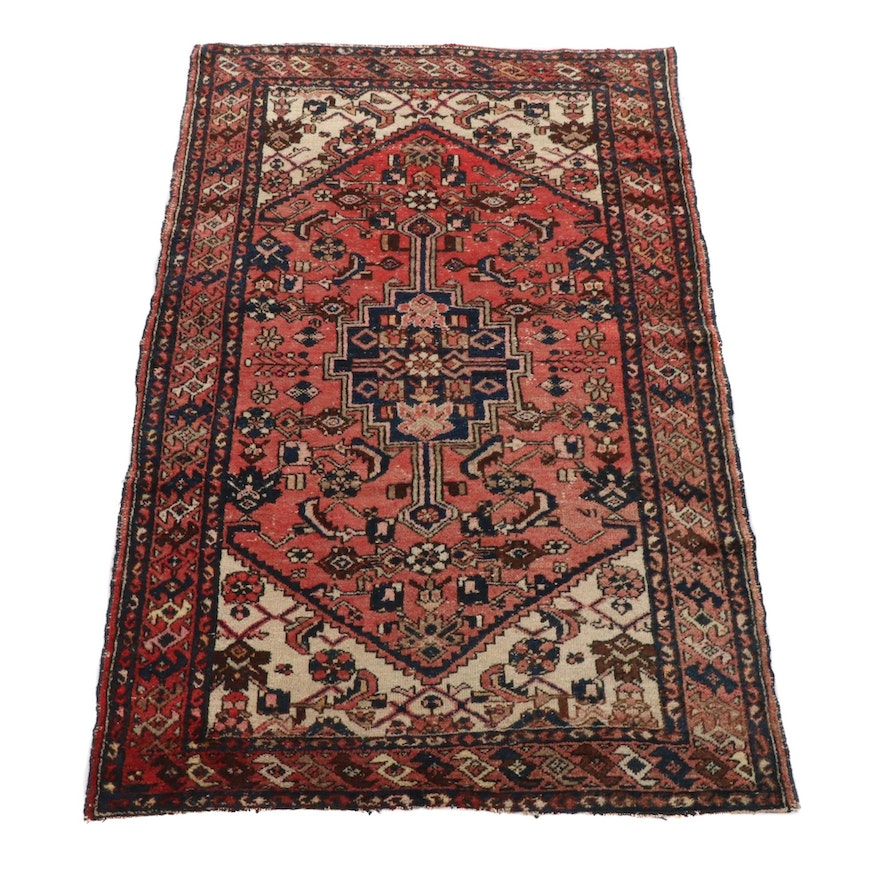 4'4 x 6'7 Hand-Knotted Persian Zanjan Rug, 1920s