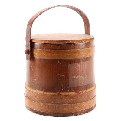 Primitive Wooden Firkin Bucket with Lid
