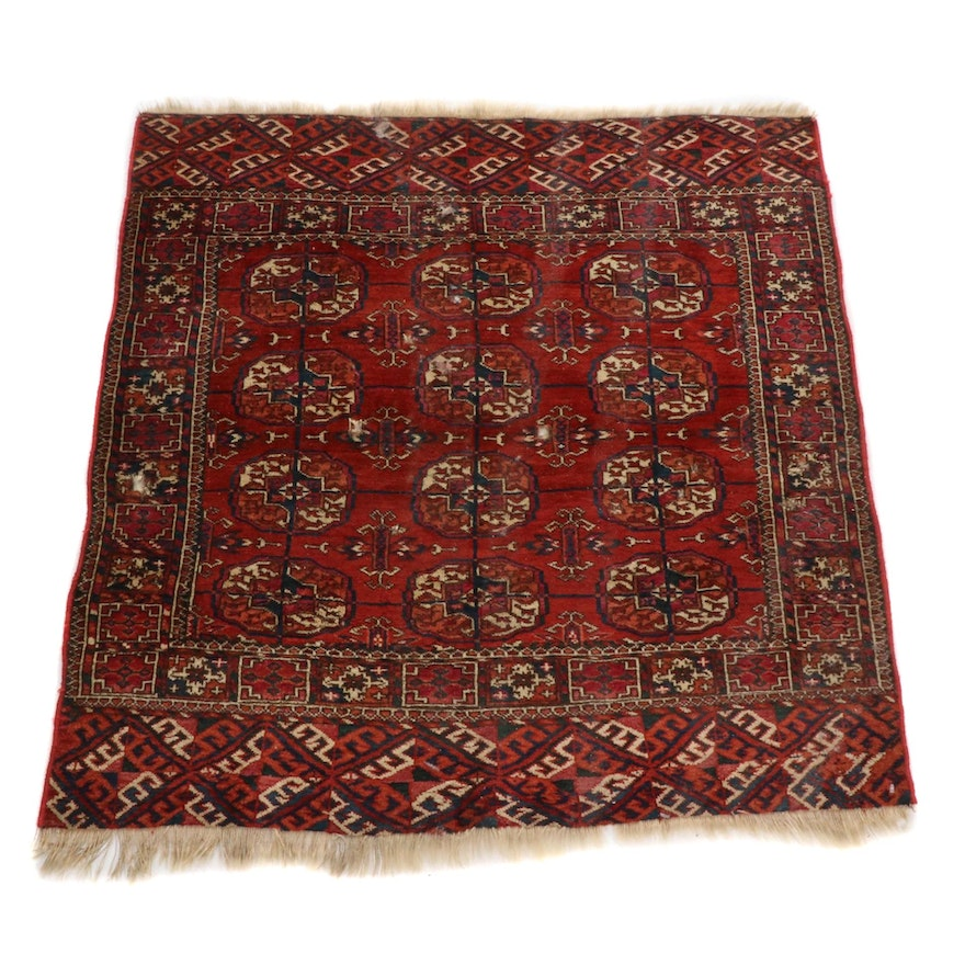 3'4 x 3'7 Hand-Knotted Persian Turkoman Rug, 1900s
