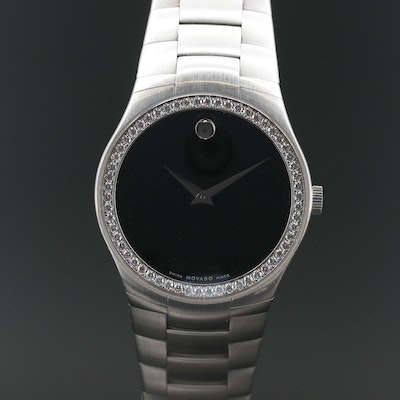 Movado 1.16 CTW Diamond and Stainless Steel Quartz Wristwatch