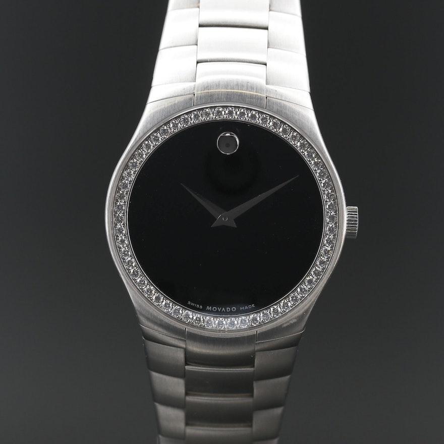 Movado 1.16 CTW Diamond and Stainless Steel Quartz Wristwatch