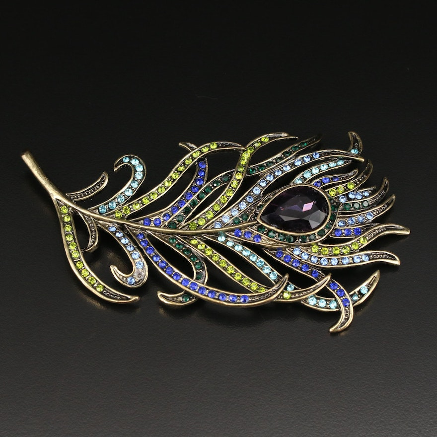 Heidi Daus Peacock Feather Brooch