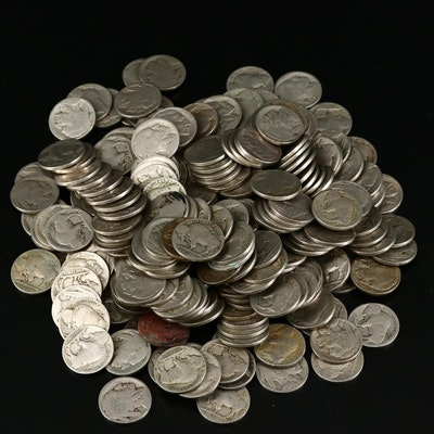 Two Hundred and Fifty Assorted Vintage Buffalo Nickels.