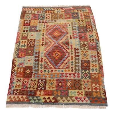5' x 7'3 Handwoven Turkish Caucasian Kilim Rug, 2010s