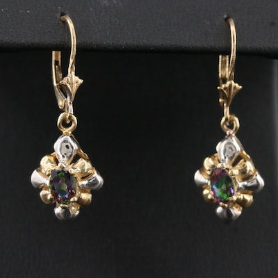 14K Two Tone 'Mystic' Topaz Drop Earrings