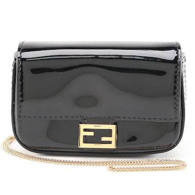 Fendi Nano Baguette Black Patent Leather Crossbody Charm Bag