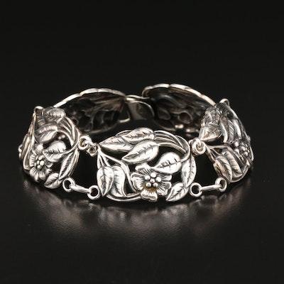 Vintage Danecraft Sterling Silver Floral Bracelet