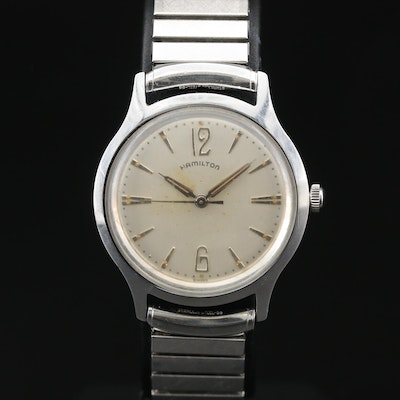 "1959 Hamilton ""Sea-Cap"" Stainless Steel Stem Wind Wristwatch"