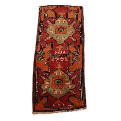 1'3 x 3' Hand-Knotted Turkish Village Rug, 1961
