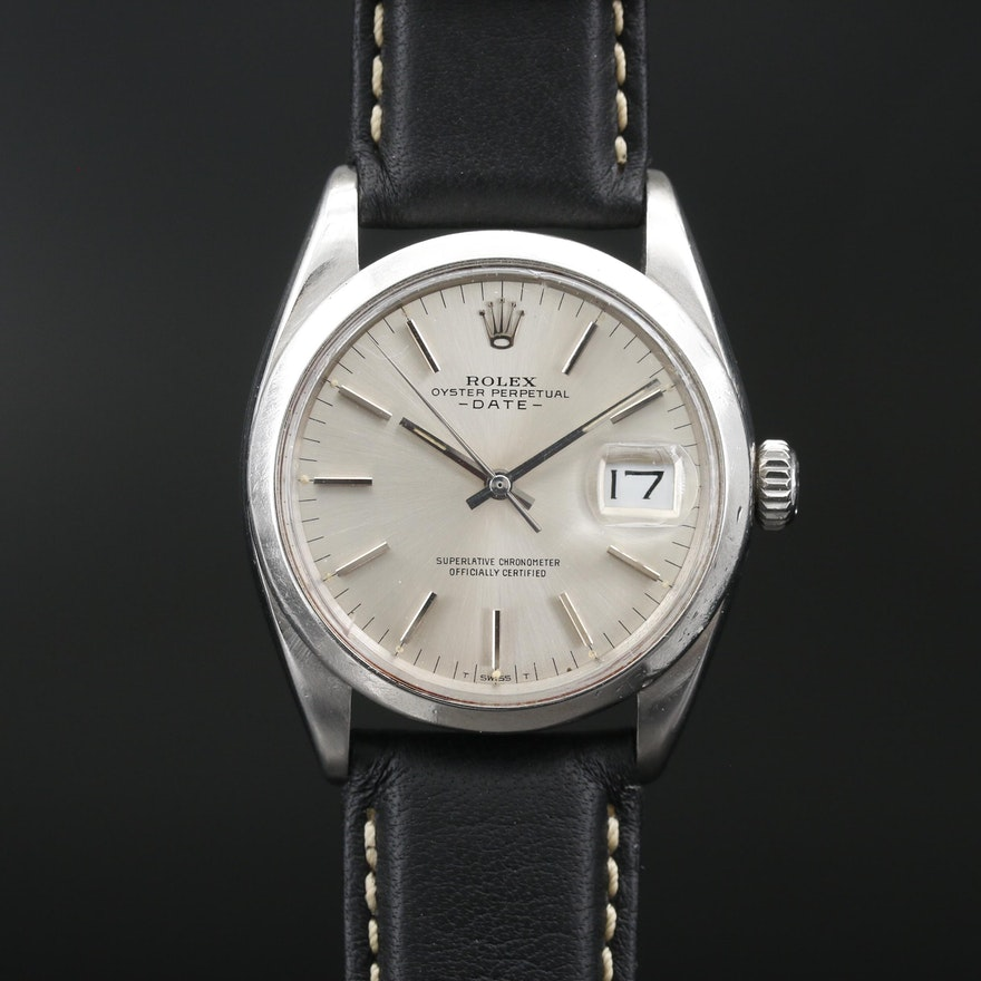 "1966 Rolex ""Oyster Perpetual Date"" Stainless Steel Automatic Wristwatch"
