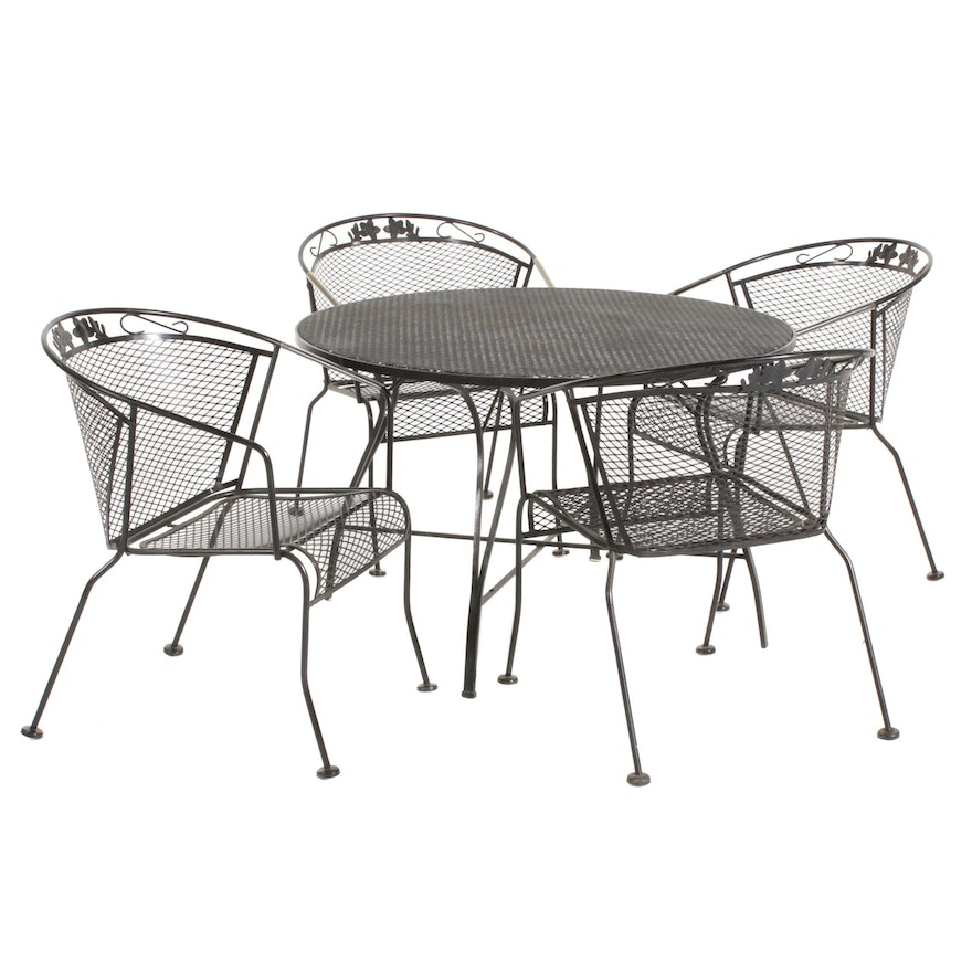 Metal Mesh Patio Bistro Table and Chairs, Late 20th Century
