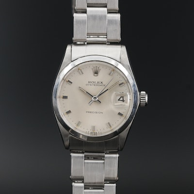 1967 Rolex Oysterdate Precision Stainless Steel Stem Wind Wristwatch