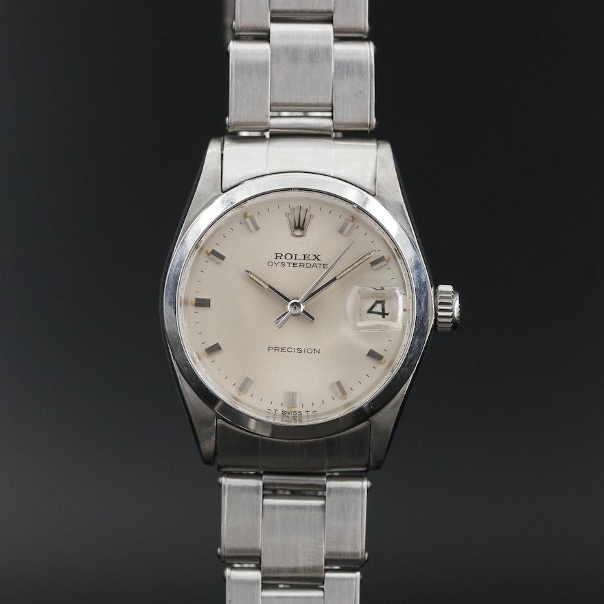 1967 Rolex Oysterdate Precision Stainless Steel Stem Wind Wristwatch