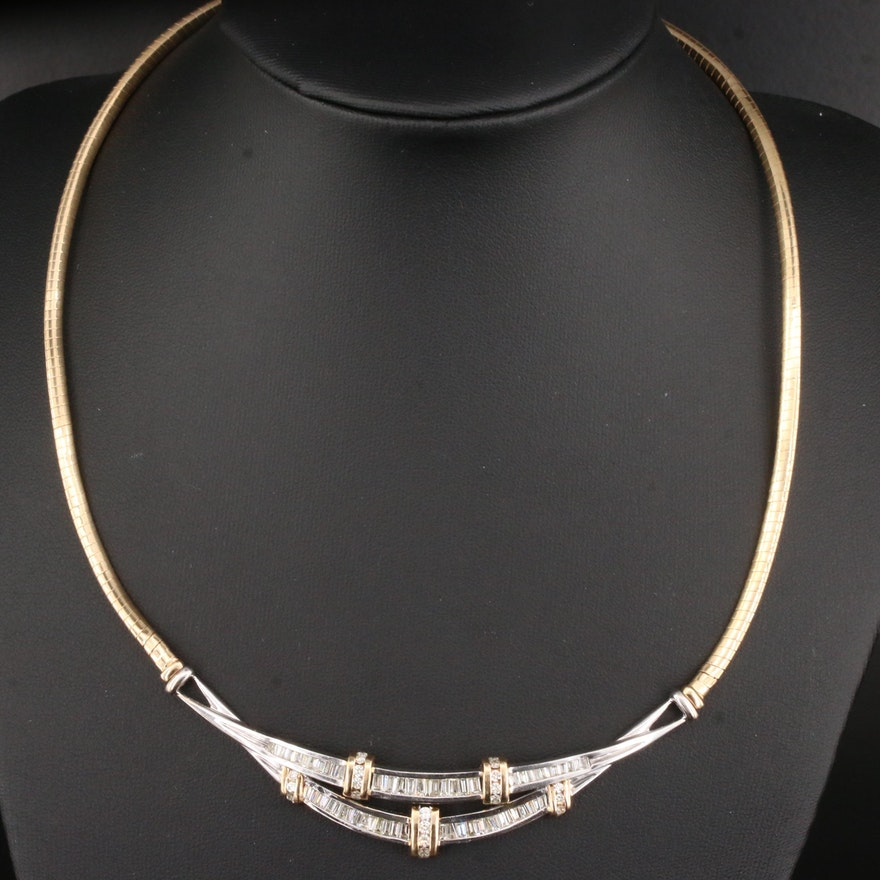 14K Gold 2.00 CTW Diamond Omega Necklace