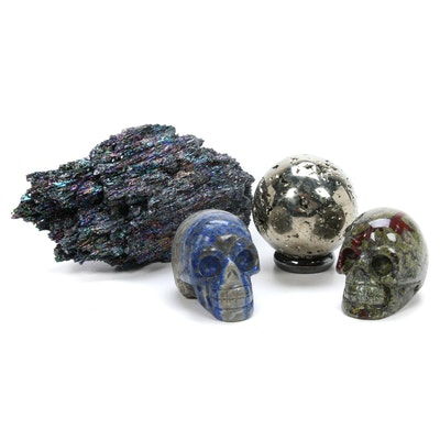 Berthierite Specimen, Pyrite Orb and Two Carved Stone Skulls