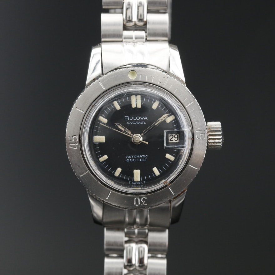 1967 Bulova Snorkel Stainless Steel Automatic Wristwatch