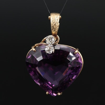 14K Amethyst Enhancer Pendant with Diamond Accents