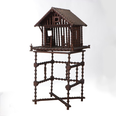 Handcrafted Folk Art Spool Manger and Stand