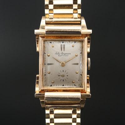 Jules Jurgensen 14K Gold Stem Wind Wristwatch, Circa 1949