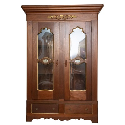 Victorian Poplar Armoire with Glass Doors and Shelves, 19th Century and Later