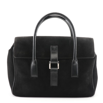 Gucci Black Suede and Leather Top Handle Bag
