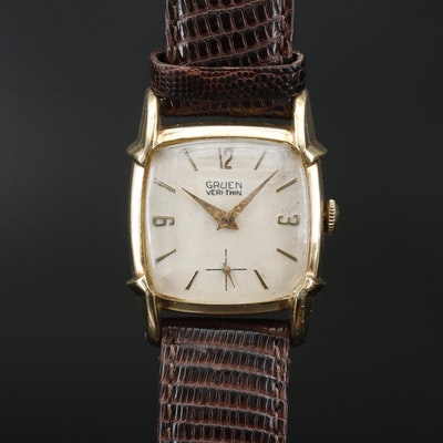 "1950s Gruen ""Veri-Thin"" Stem Wind Wristwatch"
