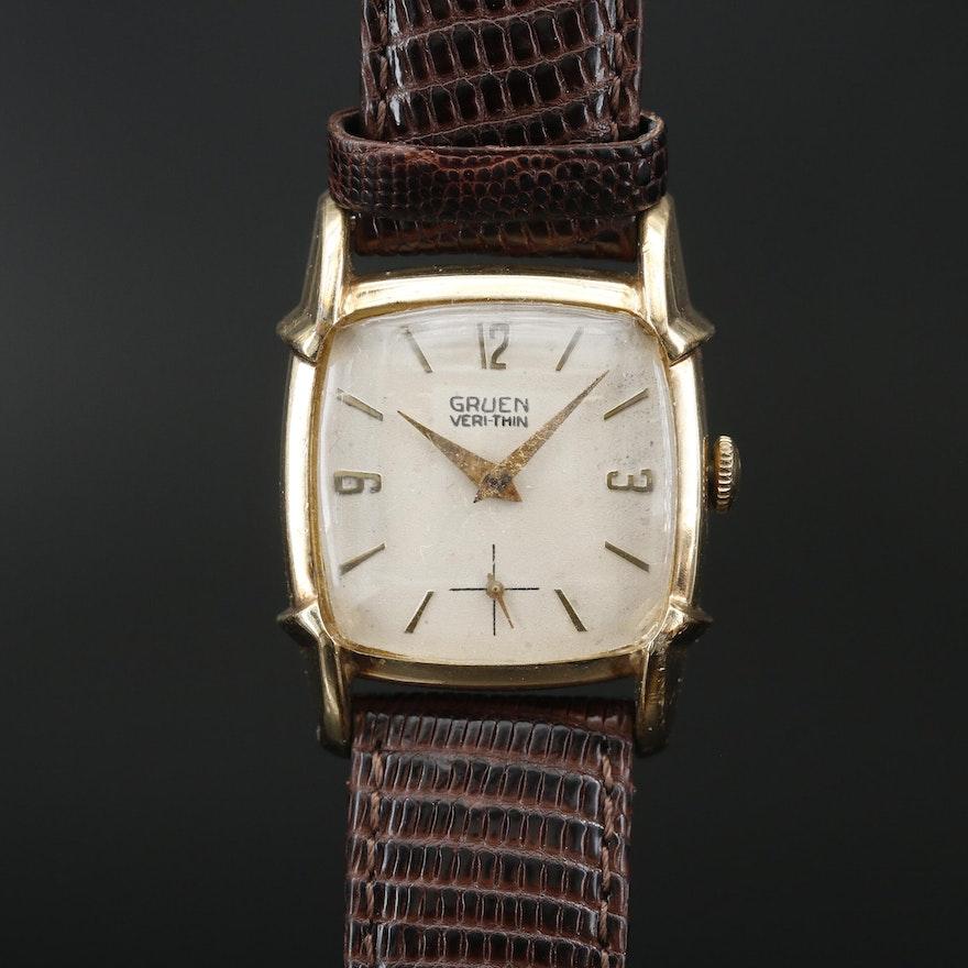 """1950s Gruen """"Veri-Thin"""" Stem Wind Wristwatch"""