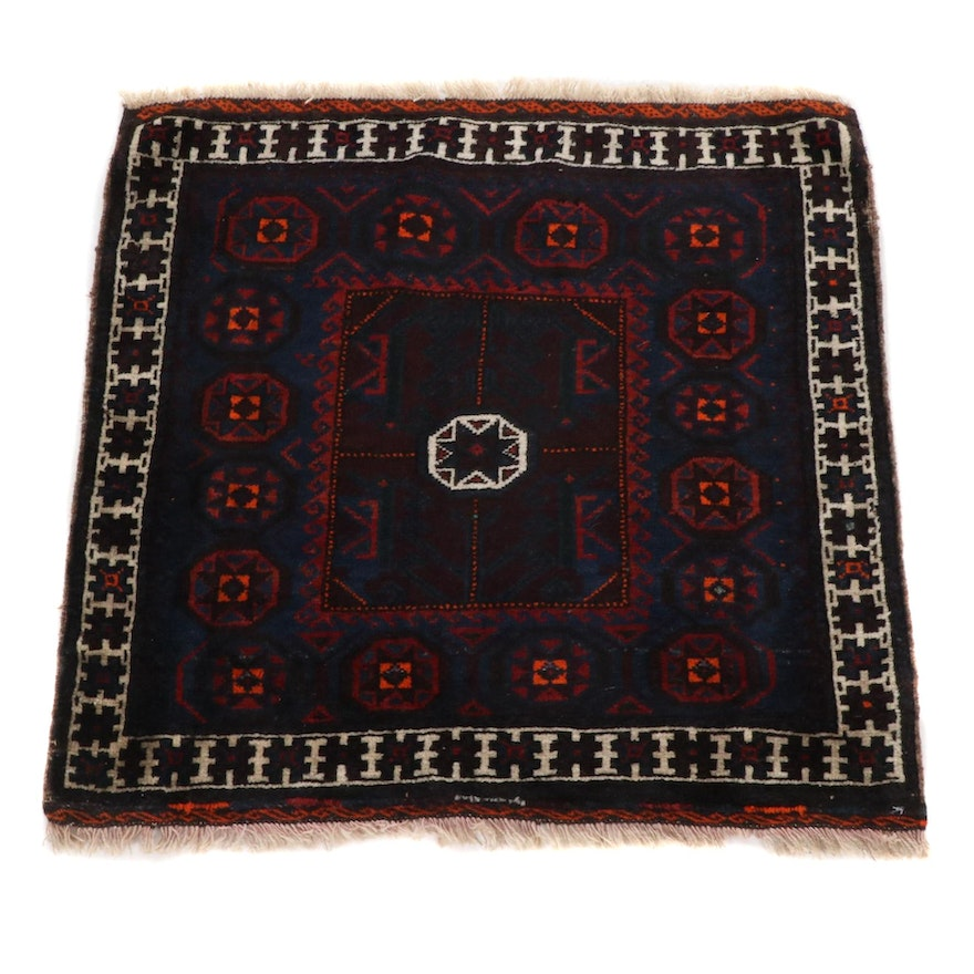 2'8 x 2'9 Hand-Knotted Persian Balouch Rug, 1940s