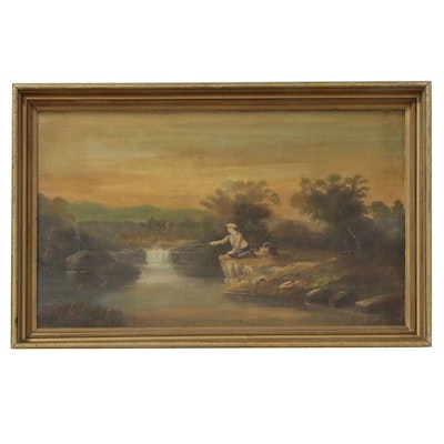 Oil Painting of River Scene with Fisherman