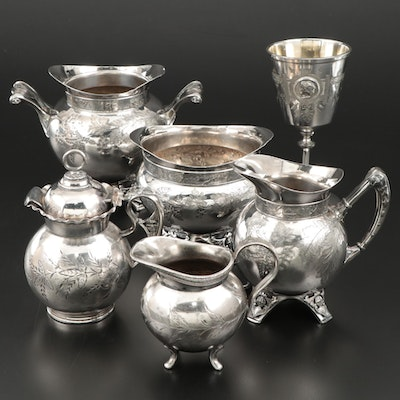 Meriden Britannia Oak Leaf Silver Plate Tea Accessories and Other Silver Plate