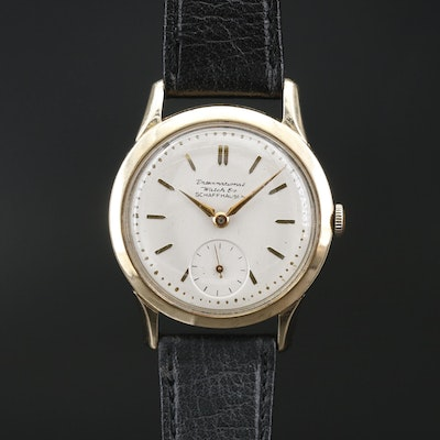 IWC 14K Gold Stem Wind Wristwatch, Circa 1951